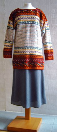 The Korsnäs sweater, traditional fisherman's from village of Korsnäs, region of Ostrobothnia, Finland. Knitted and tapestry crocheted.