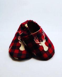 Buffalo Plaid Deer Baby Booties Baby Boy Crib Shoes Gift