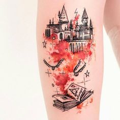 Hogwarts Magic Book Tattoo #tattooidea Est Tattoos, Harry Potter Tattoos, Minimal Tattoo, First Tattoo, Tattoo Artists, Black Tattoos, Watercolor Tattoo, Tatting, Body Art