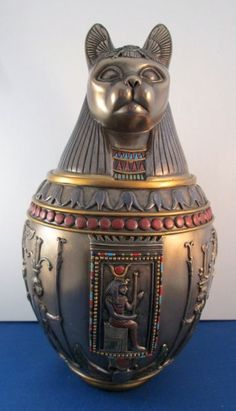 Cat Goddess Canopic Jar and Urn for Cats. Cats In Ancient Egypt, Ancient Egypt History, Old Egypt, Egypt Art, Ancient Egyptian Art, Egyptian Goddess, Egyptian Cats, Egyptian Mummies, Memorial Funeral