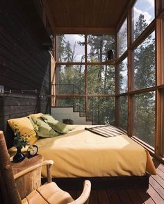 Sunday sleep-ins. Wouldn't it be amazing to wake up here! Stone Creek Camp designed by Andersson Wise Architects in Bigfork, Montana. Would be slightly chilly there right now though! Luxury Interior, Decor Interior Design, Interior Designing, Cafe Interior, Room Interior, Outdoor Bedroom, Outdoor Living, Sleeping Porch, Budget Home Decorating