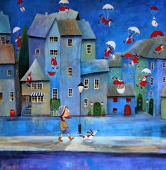 Наивное искусство. Iwona Lifsches Santa Claus Is Coming To Town, Cute Illustration, Christmas Illustration, Wooden Jigsaw Puzzles, Art Work, Naive Art, Acrylic Painting Canvas, Folk Art, Santa Claus Drawing