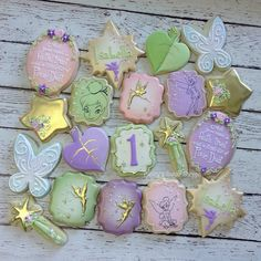 Faith, trust, and a little bit of pixie dust! 1st Birthday Party For Girls, Second Birthday Ideas, Fairy Birthday Party, Birthday Party Decorations, Happy Birthday, Tinkerbell Party Theme, Purple Cookies, Princess Cookies, Disney Cookies