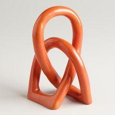 Orange Soapstone Love Knot Figure