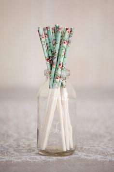 Aqua Blue Floral Treat Sticks. $4.95, via Etsy.