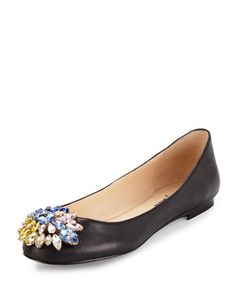 Mystic+Crystal+Leather+Flat,+Black+by+Neiman+Marcus+at+Neiman+Marcus+Last+Call.