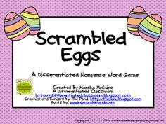 This nonsense word game is differentiated to meet the various levels of readiness amongst your students.  There is one version that will fit your s...