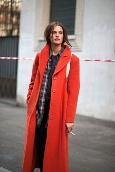 Orange long coat. Street fall autumn women fashion outfit clothing style apparel @roressclothes closet ideas