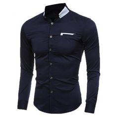 Kontrast button down-krage Slim skjorta