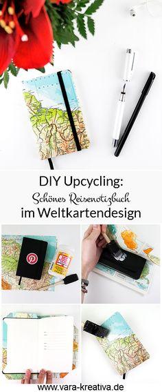 DIY Reisetagebuch, Upcycling, Weltkarte, Atlasupcycling, Notizbuch verschönern, Notizbuch einschlagen, Mod Podge DIY, Vara-Kreativa