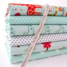 6 FQ BUNDLE - TEAL - GIRAFFE CROSSING BY RILEY BLAKE 100% COTTON FABRIC