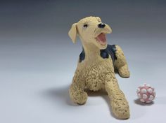 Airedale Terrier Ceramic Dog Sculpture and toy by MudPups on Etsy