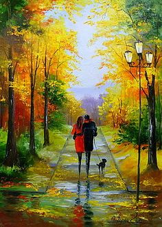 Walk in the early autumn Art Print by olhadarchuk Indian Art Paintings, Nature Paintings, Beautiful Paintings, Beautiful Landscapes, Acrylic Paintings, Autumn Painting, Autumn Art, Early Autumn, Landscape Art