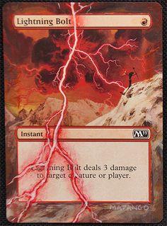 M11 Lightning Bolt by Matango www.squidoo.com/magic-the-gathering-altered-art-cards #mtg #magic #magicthegathering #alteredart