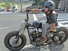 Panhead hardtail custom with nacelle and flush headlight