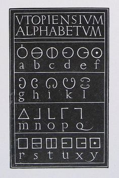 More's Utopian Alphabet engraved in wood by Eric Gill in 1929