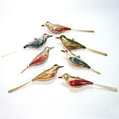 Set 7 Shiny Brite 1940s Plastic Bird Ornaments