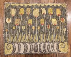 Hooked Rug- love the yellows and gray wools - purchased from janice johnson. sunshine tulips pattern by wooley fox Rug Hooking Patterns, Rug Patterns, Punch Needle Patterns, Latch Hook Rugs, Hook Punch, Rug Inspiration, Hand Hooked Rugs, Sheepskin Rug, Penny Rugs