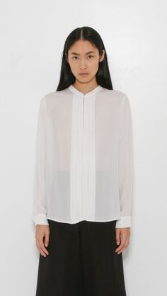 L'Agence Lauren Band Collar Blouse in Ivory | The Dreslyn