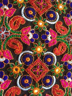 1 yard Kutch embroidery Fabric, indian embroidered Fabric, boho Fabric…