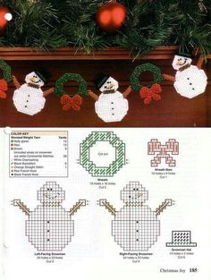 Snowman garland (done 2007 & Plastic Canvas Ornaments, Plastic Canvas Tissue Boxes, Plastic Canvas Crafts, Plastic Canvas Patterns, Plastic Craft, Plastic Canvas Christmas, Holiday Canvas, Canvas Designs, Tissue Box Covers