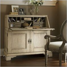 """Lexington Lexington Twilight Bay Colette Secretary by Lexington Home Brands. $2259.00. Authorized Lexington Dealer for 01-0354-933 Secretary Desks. Features:Antique Linen finish â?"""" generously distressed white crackle with rub-through to a slate coloration (exterior)Interior is finished in Driftwood - soft taupe-gray color applied to a panel that has been textured to create a weathered effectDrop-down door creates writing surfaceBehind drop-down door: 4 drawers, 1 ..."""