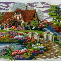 This Pin was discovered by Neş Cross Stitch House, Cross Stitch Bird, Cross Stitch Flowers, Cross Stitch Charts, Cross Stitch Designs, Cross Stitching, Cross Stitch Patterns, Cross Stitch Kitchen, Ribbon Embroidery
