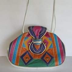 Bright Colorblock 80s Vintage Leather Patchwork by JennyandPearl $26.00
