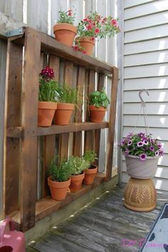 Make a pallet garden to store outdoor plants.