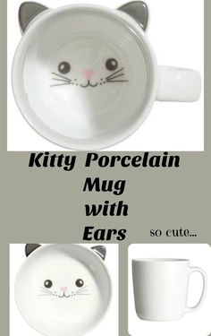 Such a cute kitty kat mug...Porcelain mug with ears. Printed motif at interior base. Diameter 3 in., height 3 in.#Gift #afflink #fashion #cat