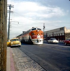 Western Pacific Railroad GM EMD Electro-Motive F-7 Diesel Train, in Oakland, California, 1957.