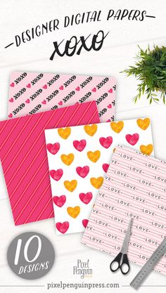 You're in love with love. Who isn't? It's always in fashion and with this digital paper pack you can get your fix in your planner or card-making year round! Why wait for Valentine's Day? This versatile set of printables works great in sticker sets and as planner covers. >> Click through to see all 10 patterns Printable Scrapbook Paper, Digital Scrapbook Paper, Watercolor Heart, Paper Background, Digital Pattern, Planner Covers, Pattern Paper, Printer, Card Making