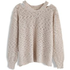 Chicwish Free Yourself Sweater in Cream (€40) ❤ liked on Polyvore featuring tops, sweaters, white, white sweater, cream sweater, creme sweater, white top and chicwish tops