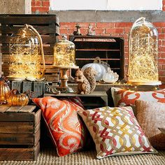 #Pier1 Glimmer Strings® under glass domes, a fresh batch of pillows and a few #autumn accents—instant fall display! Shop this look via our Like2b.uy/Pier1 link in our Instagram profile.
