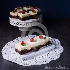 Chocolate Cream Cake With Cherries - Download From Over 61 Million High Quality Stock Photos, Images, Vectors. Sign up for FREE today. Image: 93962771
