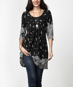 This Black Border Empire-Waist Tunic Dress by Reborn Collection is perfect! #zulilyfinds