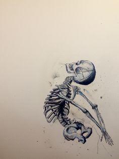 Half skeleton in flight. By L Piek