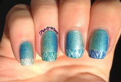 blue taped nail design