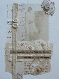 Christine Kelly — британский мастер, художник-самоучка по текстилю. В своих работах Christine очень умело сочетает ручную вышивку и аппликацию. Особый шарм её работам придают винтажные элементы, которые художница коллекционирует уже много лет. Это старинные пуговицы, кружева, фотографии, старые карты, газеты и сухие цветы. Кристин пишет, что каждый раз, создавая панно, куклу или открытку, она наслаждается процессом.
