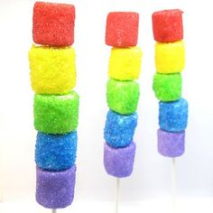 Rainbow Marshmallow Kabobs~ Fun idea for a kid's party or snack!