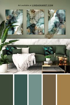 Beautiful abstract art prints available in several sizes made with alcohol ink by Norwegian artist and designer Linda Skaret. #colorpalette #green #artprint #artist #artprint #triptych Green Alcohol, Alcohol Ink Art, Mark Making, Triptych, Colour Palettes, Living Room Interior, Color Themes, Green Colors, Abstract Art