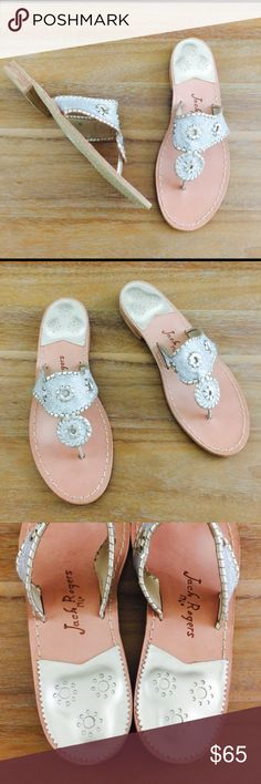 Jack Rogers Hamptons Sparkle Sandal In like new condition. Some markings on the bottom from trying on, but very clean. Silver glitter detail. Jack Rogers Shoes Sandals
