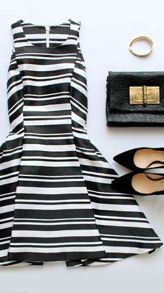 Give yourself a positive outlook by slipping on the Cameo Brightside Black and White Striped Dress! A chic striped pattern forms a fitted bodice with a sassy flared skirt. Dressy Outfits, Cool Outfits, Fashion Outfits, Balmain, Dress Flats, White Fashion, Flat Lay Fashion, Flatlay Styling, Clothing Photography