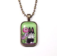 Dutch Treat: Dutch Bunny Rabbit Glass Pendant   by Susan Faye, SusanFayePetProjects on Etsy, $20.00