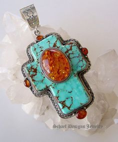 On Sale 25% OFF David Troutman LARGE Turquoise & Amber Cross Pendant