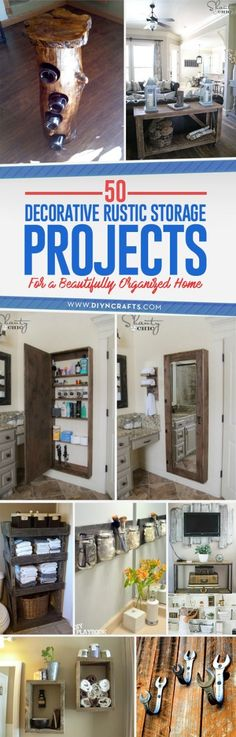 50 Decorative Rustic Storage Projects For a Beautifully Organized Home via @vanessacrafting