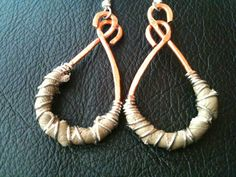 Genuine tan leather textured copper  wire wrapped earrings by BLLstudio.