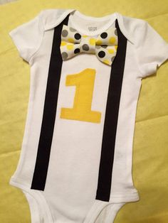 First birthday bow tie and suspenders onesie for your special one year old baby boy!! - Golden Yellow, Black, Gray, and White