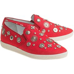 Toga Pulla Flat Canvas Red // Canvas slip ons ($155) ❤ liked on Polyvore featuring shoes, flats, slip on flats, rubber sole shoes, slip-on shoes, canvas shoes and flat canvas shoes