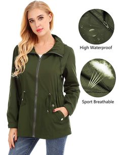 Raincoat Material for Women: This rain jacket is made out of high-quality polyester fabric, it is skin-friendly, lightweight, waterproof and comfortable at the same time. Vest Jacket, Bomber Jacket, Leather Jacket, Raincoats For Women, Outerwear Women, Lightweight Rain Jacket, Vinyl Raincoat, Cute Woman, Army Green
